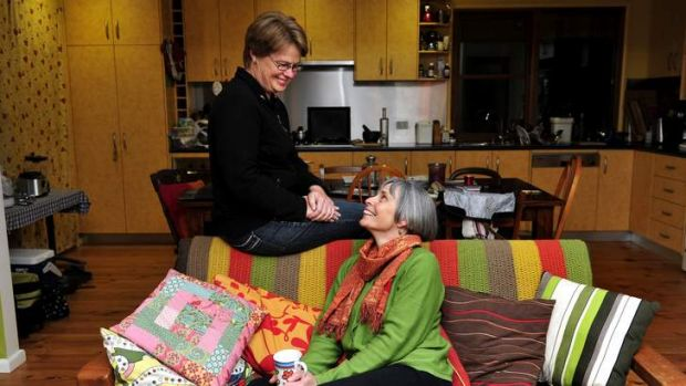 Darlene Cox and partner Liz Holcombe at their home in Downer.