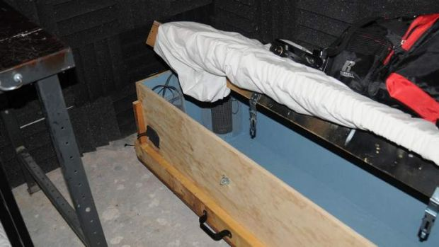 A child-sized homemade coffin found in the home of Geoffrey Portway.