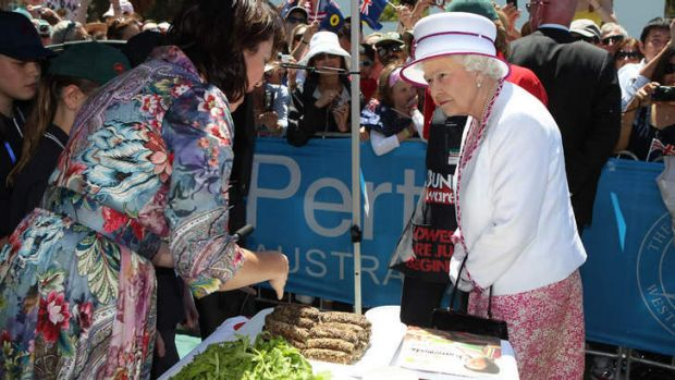 Her Majesty The Queen chats with celebrity chef Anna Gare at the Big Aussie BBQ.