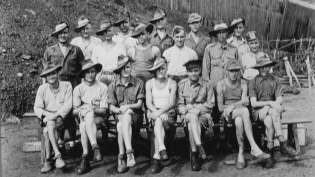 Story of survival … Arch Flanagan (back row, second from right, in cap) with other Australian POWs soon after the ...