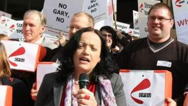 CPSU National Secretary Nadine Flood addressing a protest earlier this year.