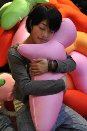 Up close: a robotic Hugvie from Japan.