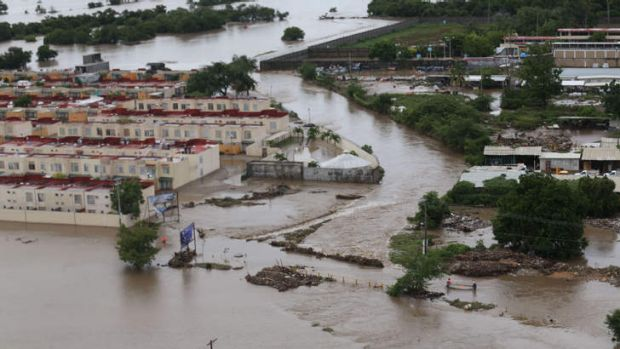 An aerial view of flooded streets in Acapulco.