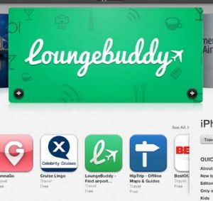 LoungeBuddy featured in the travel section of Apple's app store.