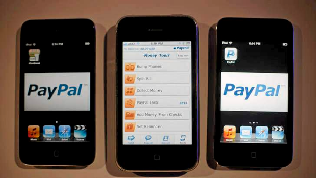 PayPal's mobile application displayed on  iPhones and iPods at an event hosted by the company in New York.