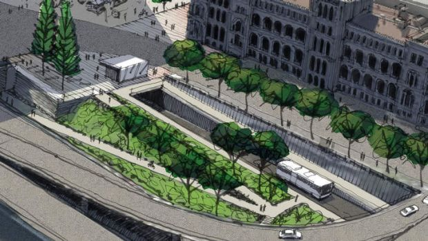 Artists' impression of the entry portal to the Suburbs 2 City Buslink project.