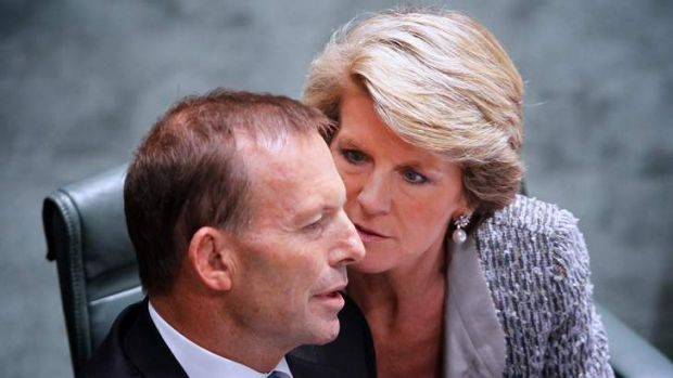 Julie Bishop talks to Prime Minister Tony Abbott. The Coalition says the Environment Department will provide independent ...