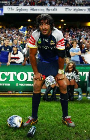 A dejected Johnathan Thurston during the Cowboys' loss to the Sharks.