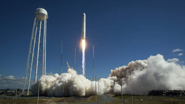 The Antares rocket lifts off from NASA's Wallops Island test flight facility in Virginia.