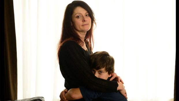 Sandra Surace and her son Robert, eight, who almost died after eating ice-cream.