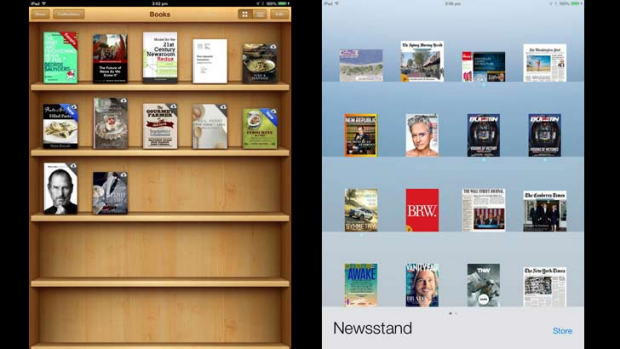 The old and the new: Older versions of iOS featured faux textures (left), while the new version - iOS7 - features ...