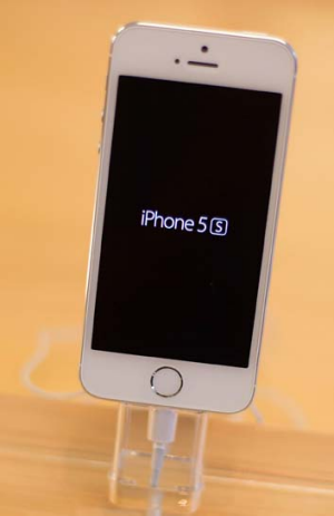 The iPhone 5s on display in an Apple Store.