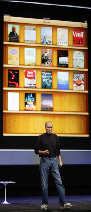 The late Apple CEO Steve Jobs introduces the original iBooks application in 2010.