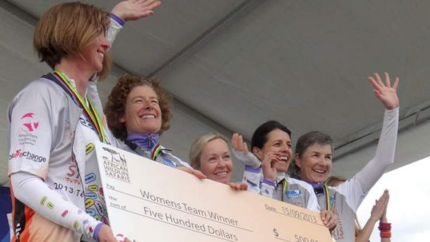 Team Pill members at Amy's Grand Fondo (l-r) Judith Dahl Taylor, Kate Montgomery, Michelle Mulhall, Rosemary Korda and ...