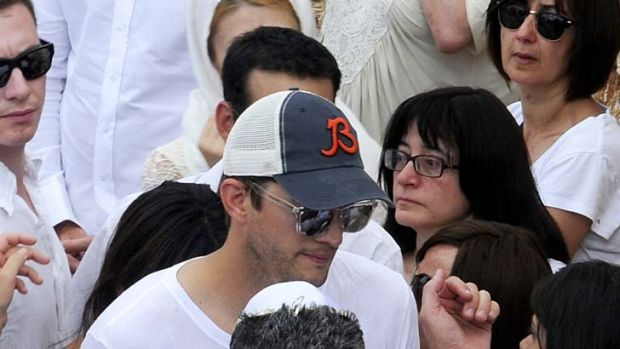 Hollywood actor Ashton Kutcher at the funeral of Rabbi Philip Berg in Safed, Israel.
