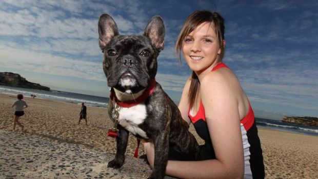 Rachael Anderson and Darci, a French bulldog, at the beach. A survey commissioned by the Animal Health Alliance found ...