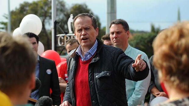 Ready to roll: Bill Shorten campaigns at the weekend in Victoria.