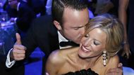 """Actors Anna Gunn, Aaron Paul celebrate the success of """"Breaking Bad"""" at the Governors Ball for the 65th Primetime Emmy ..."""