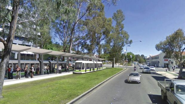 An artist's impression of the City interchange for the Canberra light rail.
