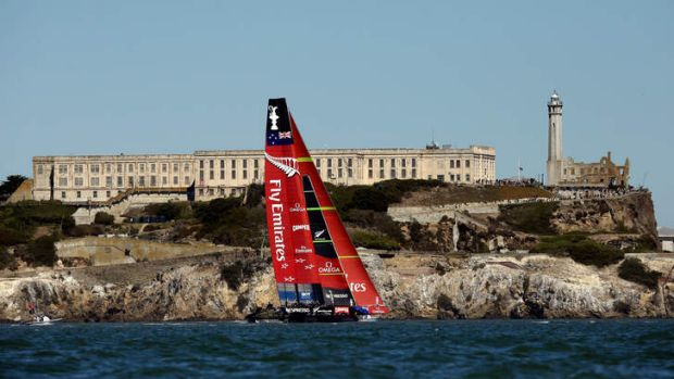Escape from infamy: Emirates Team New Zealand sails past Alcatraz Island in San Francisco Bay.