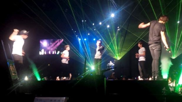 Showmen ... One Direction on stage at their first Australian concert in Adelaide.