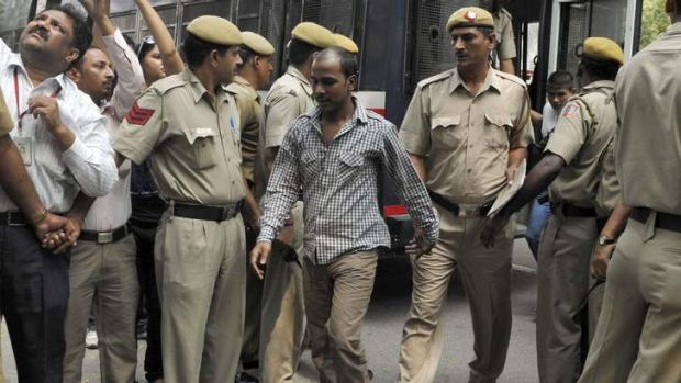 Mukesh Singh (centre), one of the four men who were sentenced to death for the rape and murder of a young woman on a bus ...