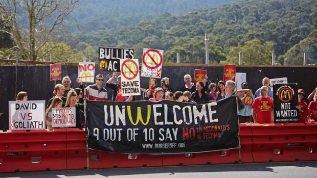 Mac attack … anti-McDonald's protestors make their point in Tecoma, in the foothills of the Dandenongs.