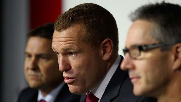 Lion-hearted: Justin Leppitsch is announced as the new Brisbane coach.