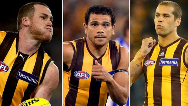 Jarryd Roughead, Cyril Rioli and Lance Franklin.