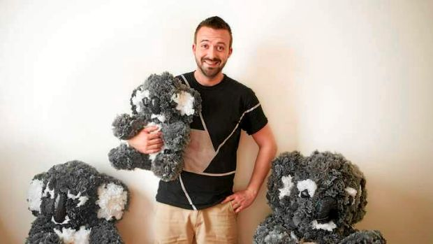 Aaron McGarry with his koala sculptures for the City of Moreland's MoreArt festival.