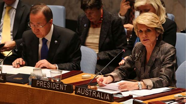 United Nations Secretary-General Ban Ki-moon, left, listens as Australian Foreign Minister Julie Bishop speaks during a ...