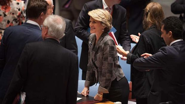 Australian Minister of Foreign Affairs Julie Bishop talks to other attendees before a Security Council meeting on small ...