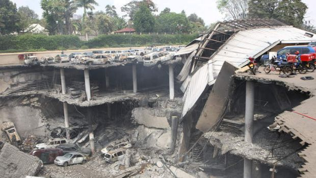 The remains of cars and other debris can be seen in a photo released by the Kenyan government.