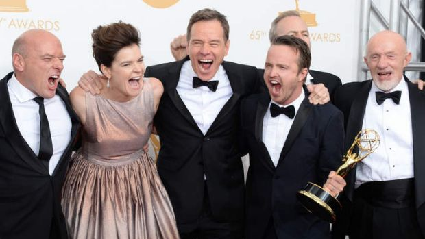 Actors Dean Norris, Betsy Brandt, Bryan Cranston, Aaron Paul, Bob Odenkirk and Jonathan Banks celebrate the Best Drama ...