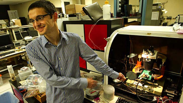 Max Shulaker of Stanford University shows off the carbon nanotube computer.