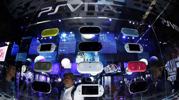 Sony's PlayStation Vita on display at the Tokyo Game Show in Chiba, Japan.