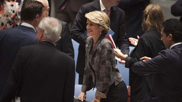 Centre of attention: Julie Bishop talks to other attendees before a Security Council meeting on small arms at UN ...