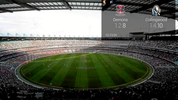 Ahead of the game: a mock-up of the game score overlaid onto view of MCG in the Telstra AFL app for Google Glass.