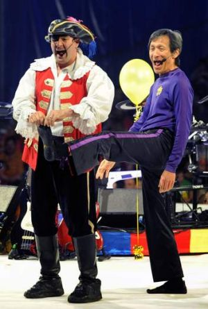 Ex-Purple Wiggle Jeff Fatt with Captain Feathersword in 2011.