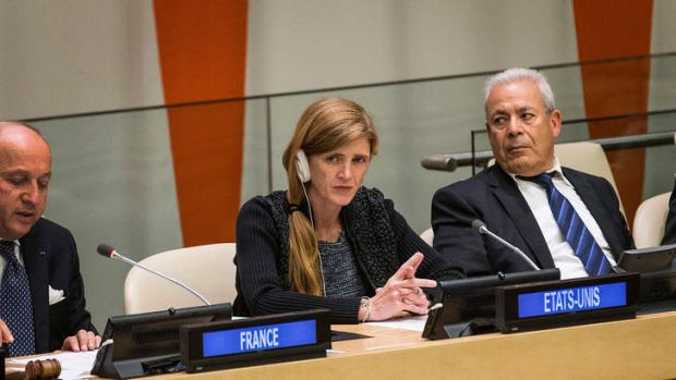 Different directions: US ambassador to the UN Samantha Power, seen here at a meeting of ''Friends of the Syrian People'' ...