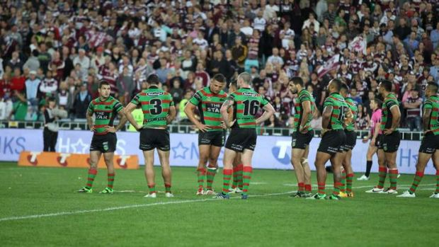 Dejected: Souths have now fallen at the final hurdle for the last two seasons.