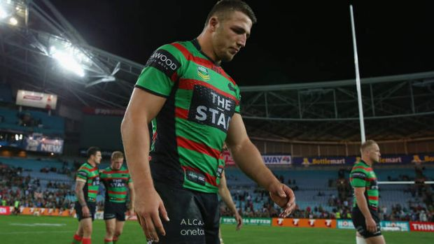 Tough: A dejected Sam Burgess at ANZ Stadium during his team's loss to Manly in the preliminary final on Friday night.