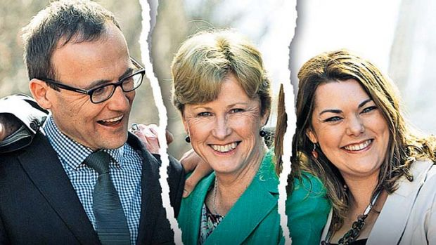 Torn loyalties: Greens MP Adam Bandt, party leader Christine Milne and senator Sarah Hanson-Young.