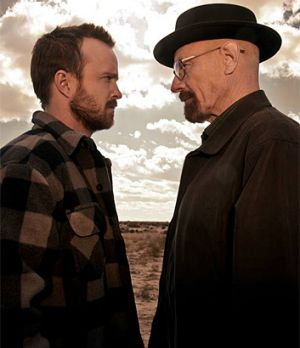 The way to go out: Jesse (Aaron Paul) faces off with Walt (Bryan Cranston) in <i>Breaking Bad</i>.