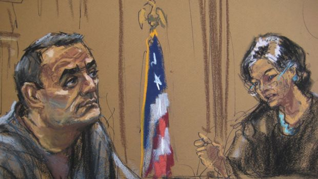 Former accountant Sabirhan Hasanoff, in a courtroom sketch made during sentencing in United States Federal court by ...