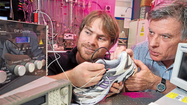 Exercise in good science: Dr Thomas McKay and Iain Anderson are trying to harness electricity from your running shoes as ...