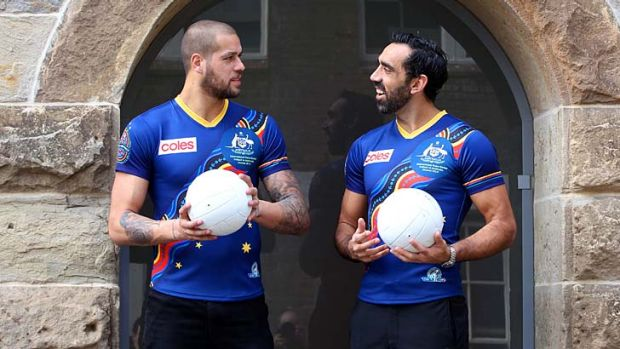 August: Sydney Swan Adam Goodes and Hawthorn star Lance Franklin at the announcement of the Indigenous Allstars team to ...