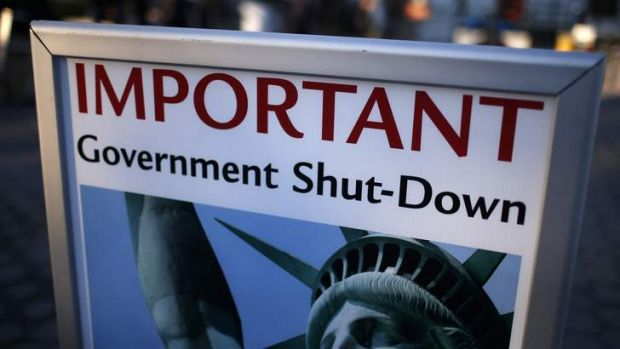 A sign announcing the closure of the Statue of Liberty, a US National Park, due to the US Government shutdown.
