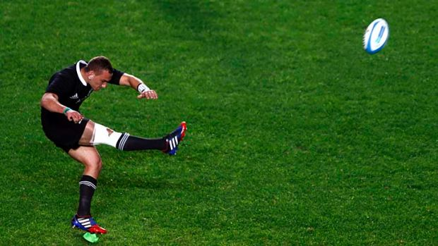 All Blacks' five-eighth Aaron Cruden takes a penalty during the Rugby Championship match against Argentina on the ...