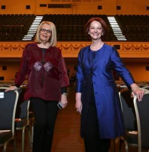 Julia Gillard and Anne Summers before their conversation at the Town Hall.